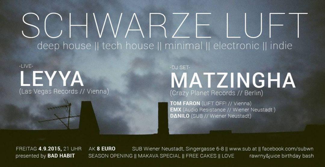__schwarze luft__ // MATZINGHA (Berlin) // LEYYA (vienna) Live @ SUB Wiener Neustadt – 4.9.15