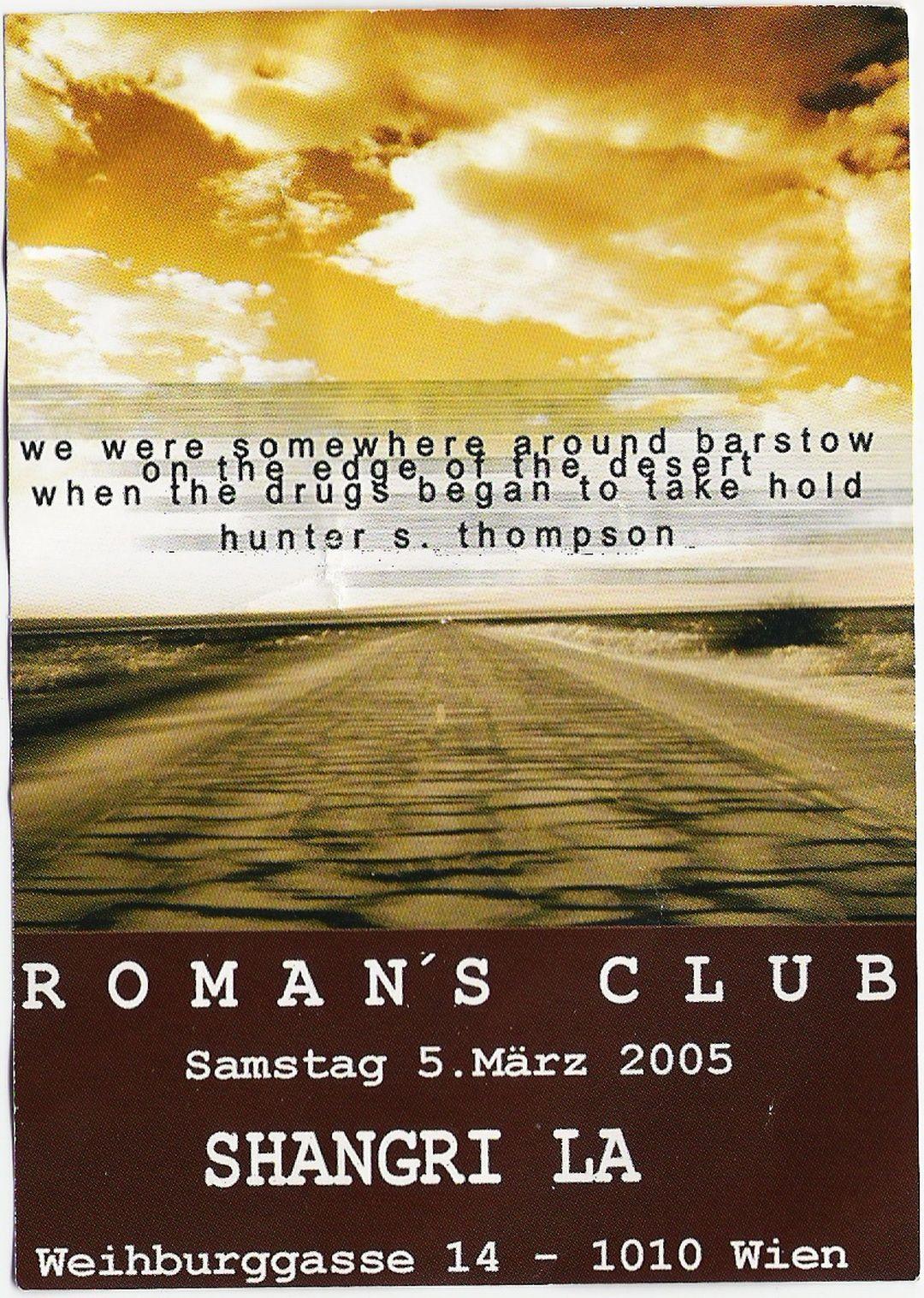 Shangrila Romans Club – 5.3.05